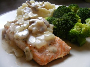 salmon with mushroom sauce