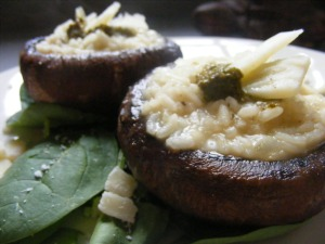bello mushrooms with risotto